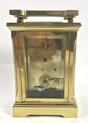 Brass Carriage Clock with Key stamped WJH : Working