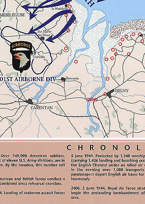 1944 War Map D-Day 6th of June Normandy Military WWII History Poster Wall Art 2