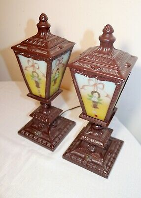 pair of antique vintage ornate reverse painted glass metal table boudoir lamps 5