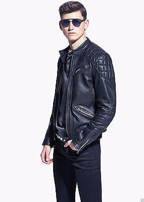 Men Real Lambskin Motorcycle Premium Quality Leather Slim fit Biker Jacket KZ112