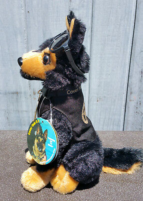 Black Tan German Shepherd Plush Police Dog w K9 Badge Mirrored Aviators charity 3