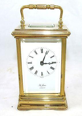 ENGLISH St James LONDON Brass Carriage Mantel Clock 11 Jewels : Working (59) 2