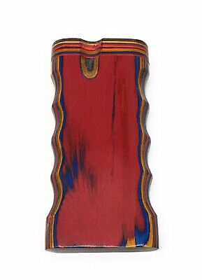 """4"""" Colorful Wooden Tobacco Dugout Set with Pipe Easy Grip (3"""" Metal One Hitter) 3"""