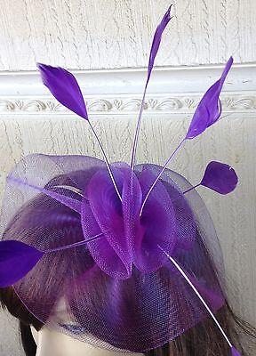purple netting feather hair headband fascinator millinery wedding hat ascot 1 2