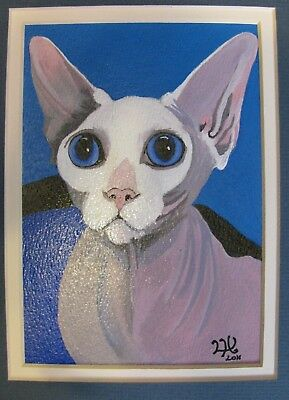 "C77    Original Acrylic Painting By Ljh       ""Pinkie""   Sphynx  Cat 7"