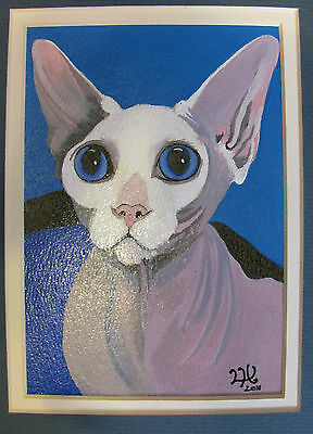 """C76     Original Acrylic Painting By Ljh     """"Russian Blue With Ceramic""""    Cat 7"""