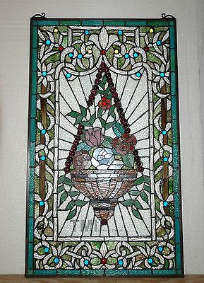 "20"" x 34"" Tiffany Style stained glass window panel Jeweled flower basket 10"
