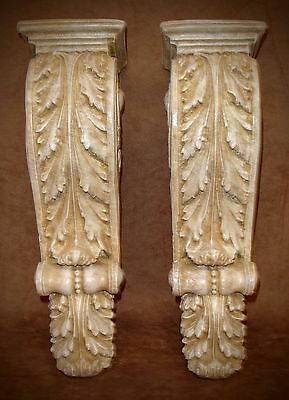 Antique Finish Shelf Acanthus leaf Wall Corbel Sconce Bracket Home Decor Pair 3