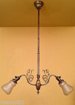 Vintage Lighting exquisite circa 1900 2 shade pendant 2
