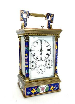 French Style Floral Blue Enamel Brass 8 Day Repeater Calendar Carriage Clock 2