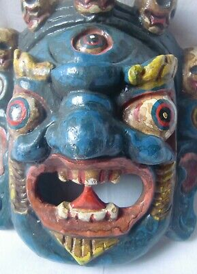 Multicolor wooden demon face mask wood devil head statue hand painted home decor 6
