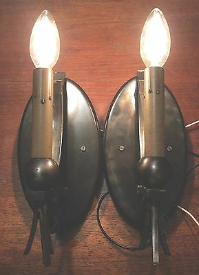 Industrial Gothic Vintage Antique Wired Pair Wall Sconce Fixtures 3