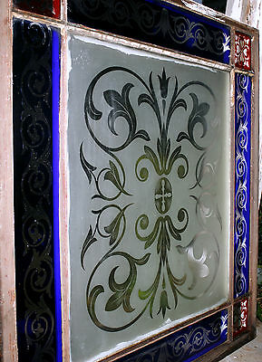 c1850 two glass window, cut glass to clear ruby, cobalt, clear, heart, tulip, 7' 10