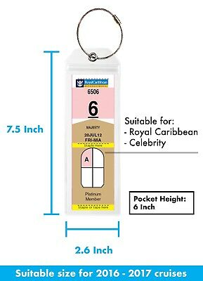 (4/8)Pack NARROW Cruise Tags - Luggage Etag Holder with Zip Seal & Steel Loops 2