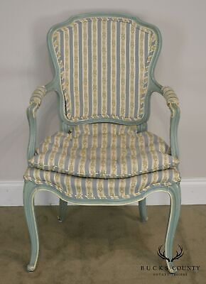French Louis XV Style Vintage 1960's Custom Painted Pair Armchairs 4