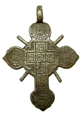 "Ancient Rare Medieval bronze pectoral Believer cross with enamels  ""Wheel"" . 3"