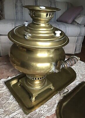 "Antique Late19th Century Imperial Russian Brass Samovar 18"" Hight by Batashev 3"
