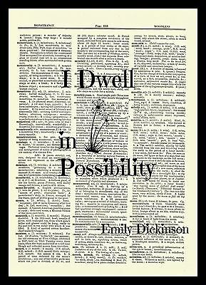 Emily Dickinson Dwell Possibilities Dictionary Art Print Book Picture Poster