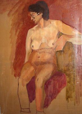 Vintage European large oil painting nude 6