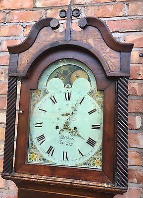 Oak & Mahogany Longcase Grandfather Clock Rolling Moon Robert jones Conwy 2