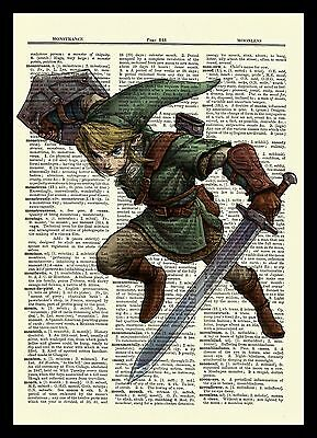 Legend of Zelda Link Dictionary Art Print Poster Picture Video Game Figure
