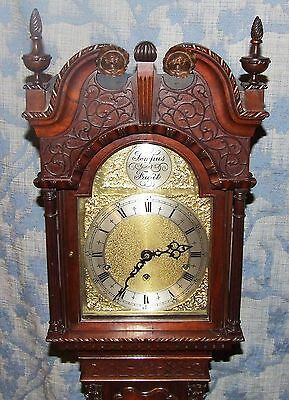 Antique Mahogany Grandmother Clock / Miniature Longcase : Westminster Chimes 3
