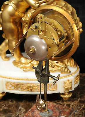 Superb Antique French Ormolu And White Marble Clock - Cupid 12