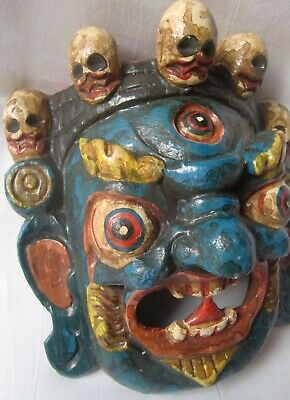 Multicolor wooden demon face mask wood devil head statue hand painted home decor 2