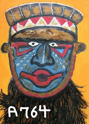 """A872  NEW -    ORIGINAL ACRYLIC ACEO PAINTING BY LJH    """"MASK""""  One-Of-A-Kind 2"""