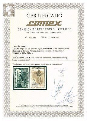 REIMPRESIONES Edifil 792s/800s*    (Cat. 2085€)    CERT. COMEX 2