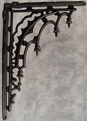 2 ARCHITECTURAL GOTHIC RENAISSANCE Cast Iron SHELF WALL CORNER BRACKETS Brown 2