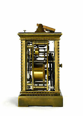 French Style Petite Sonnerie Striking Quarter Repeater Brass Carriage Clock 3