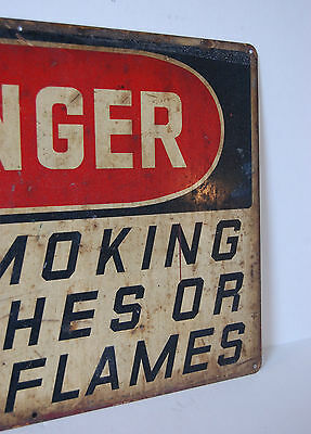 Industrial Antique DANGER NO SMOKING MATCHES OR OPEN FLAMES Ready Made Sign Co 7