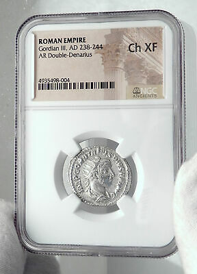 GORDIAN III Authentic Ancient 241AD Rome Silver Roman Coin JUPITER NGC i81345 3