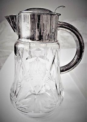 VTG W. Germany Cocktail Cut Glass Claret Jug/ Cooler Inside Silver plated Collar 3