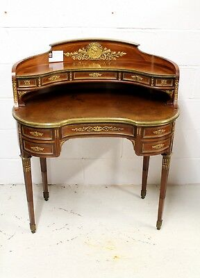 A Very Fine Quality French Gilt Bronze Kidney Shaped Ladies Desk. The Reverse Of