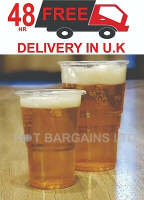 1000 Clear Strong Plastic Pint / Half Pint Disposable Beer Glasses Cups Tumblers 6