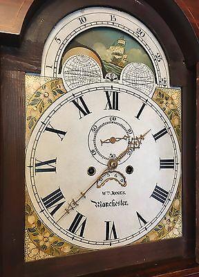 ~ Mahogany Grandfather Longcase Clock Rolling Moon Movement  W Jones Manchester 4