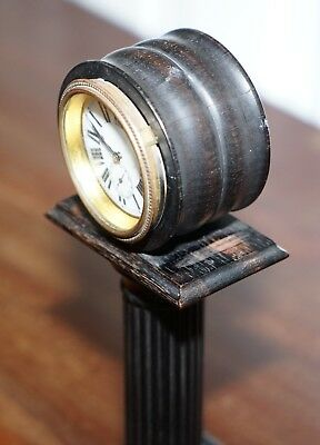 19Th Century Mantle Clock With Pedestal Column Base Hand Painted Porcelain Dial 5