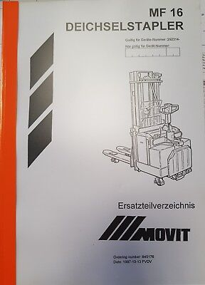 Manual Incl. Spare Parts Book BT Movit Mf 16/LSF160 292314- Original 3