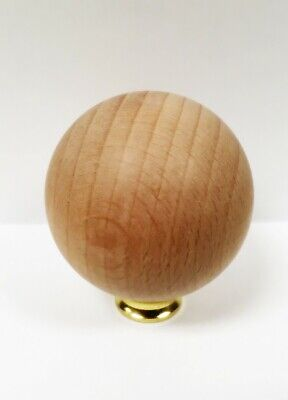 Lamp Finial-SOLID BEECH WOOD BALL-LARGE-W/Dual Thread Base-Polished Brass 3