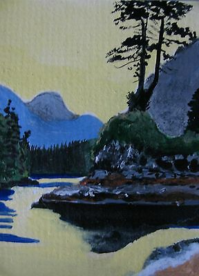 """A444 Original Acrylic Art Aceo Painting By Ljh One-Of-A-Kind """"Ireland Landscape"""" 2"""