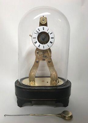Pretty Miniature Scissor Frame Skeleton Clock With Alarm & Glass Dome Circa 1860 2