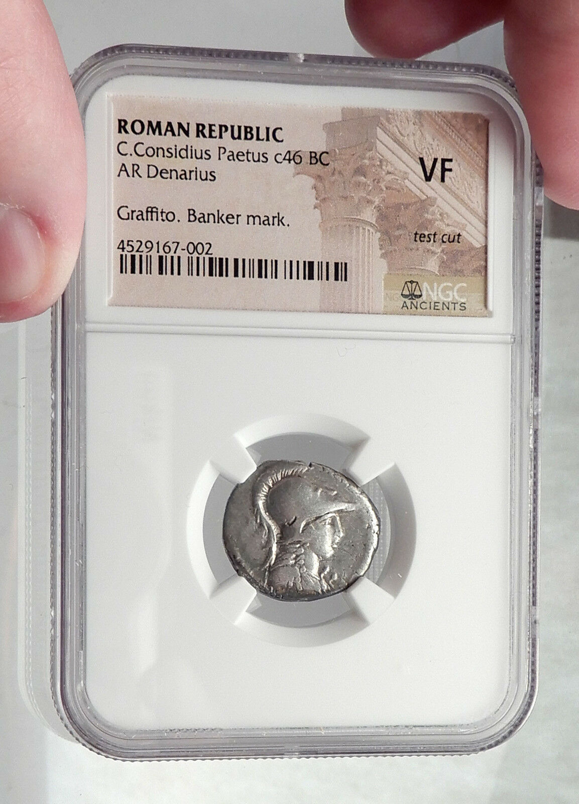 Roman Republic 46BC Authentic Ancient Silver Coin MINERVA VICTORY NGC i61915 3