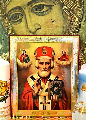St.Nicholas the Wonderworker Russian Orthodox Icon Silver Gold double embossing 2