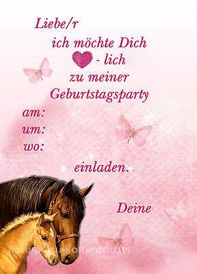 8 Einladungskarten Pferd Mädchen Geburtstag Kinder Kindergeburtstag Einladungen 2