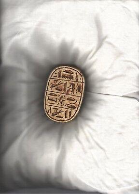 egyptian scarab, Stone(?) Heart Scarab 4 h x 6 w x 9 l cm , with hieroglphics 2