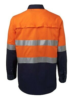 3x HI VIS Shirts COTTON DRILL SAFETY WORK 3M REFLECTIVE LONG SLEEVE VENTILATED 8