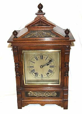 Antique Oak & Brass TING TANG Bracket Mantel Clock : CLEANED & SERVICED (a60) 2