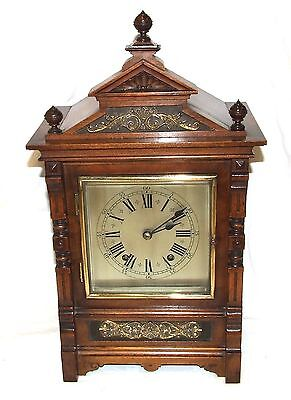 Antique Oak & Brass TING TANG Bracket Mantel Clock : CLEANED & SERVICED (a60) 2